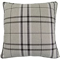 2x tartán crema Beige de cuadros escocés Highland Tejido de grosor fundas de cojín 17-43cm