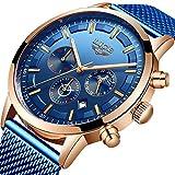 LIGE Relojes Hombre Moda Acero Inoxidable Impermeable Cronógrafo Hombre Negocio Analógico Cuarzo Relojes Fecha Automática Cinturón de Malla Relojes