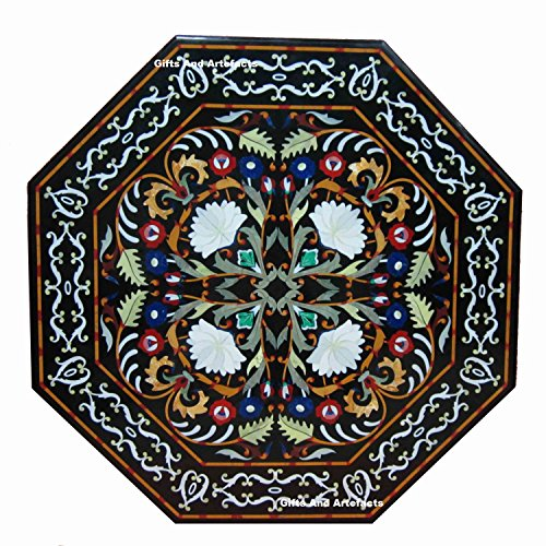 Inlay Top Sofa Tisch (Gifts And Artefacts 91,4 cm Octagon schwarz Marmor Karneol Stein Sofa Tisch Top Inlay Blumen Design)