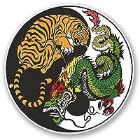 2 x Yin Yang Tiger Dragon Vinyl Sticker Decal iPad Laptop Martial Arts #4741