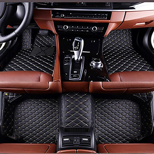 Myllon Auto Fußmatten für Nissan Maxima 2016-2017 Individuelle Passform All Wetter Kunstleder Wasserdichte Auto Teppiche Matten (schwarz mit beigen Nähten)