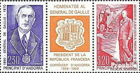 andorre-français Post 418-419 bande de trois (complète.Edition.) neuf avec gomme originale 1990 charles de gaulle (Timbres pour les collectionneurs)