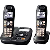Panasonic KX-TG6592T DECT 6.0 Amplified Sound Cordless Phone with Answering System Metallic Black 2 Handsets