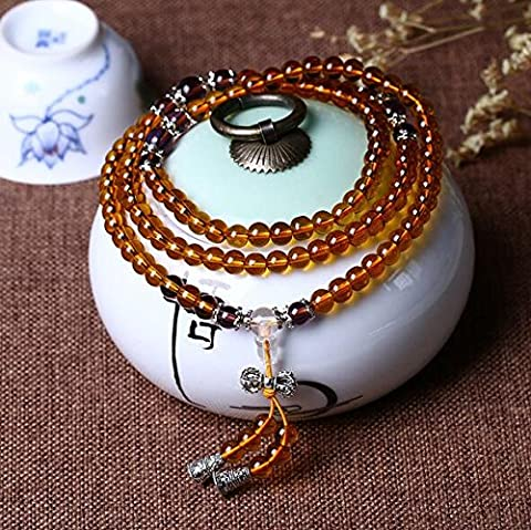 K&C 0.24 Inches 108 Beads Tibetan Buddhist Natural Beads Prayer Mala Meditation Necklace Bracelet Yellow Purple