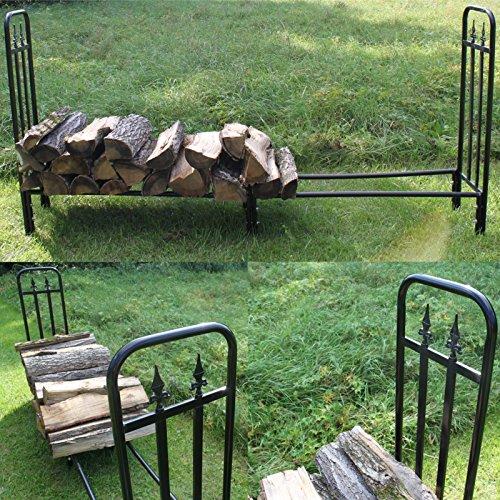 Estexo Home & Garden Design Brennholz-Regal Kaminholz-Regal Stapelhilfe Holzregal Metall schwarz LG04