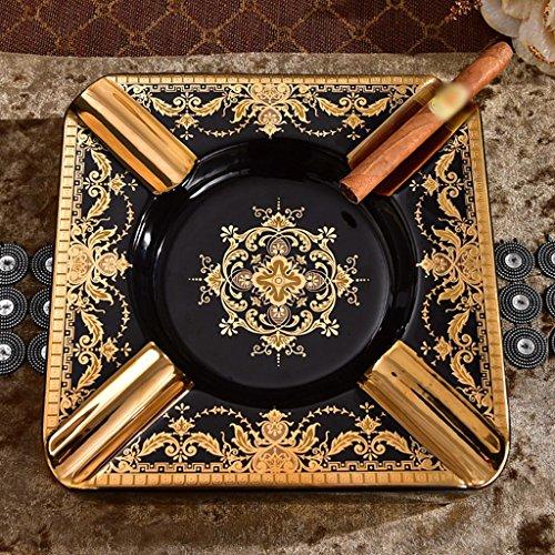MFFACAI schwarzer Gold Keramik Zigarre Aschenbecher Retro kreative Home Furnishing Dekoration hochwertigen Zigarettenschale, 23 * 5.5cm
