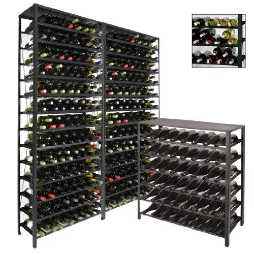 Weinregal / Flaschenregal BLACK PURE, für 195 Flaschen, Metall schwarz pulverbeschichtet,...