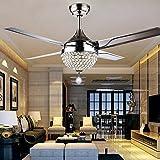 Moderner Deckenventilator mit Kristall, mit Fernbedienung, für Wohnzimmer, Esszimmer, 4 Edelstahlblätter, 111,8 cm