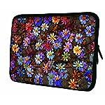 LUXBURG® 10,2 Zoll Notebooktasche Laptoptasche Tasche aus Neopren Schutzhülle Sleeve für Laptop / Notebook Computer - Farbige Gänseblümchen