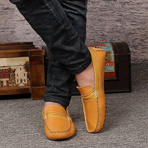 Icegrey Hommes Cuir Véritable Mode de Marche Décontracté Mocassins Chaussures Jaune