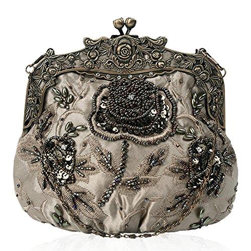 frauen antik floral perlen pailletten abendtasche dinner party hochzeit handtaschen. 18 x 16 cm . dark gray . one size (Floral Pailletten-handtasche)