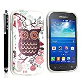 GSD STYLE YOUR MOBILE {TM} SAMSUNG GALAXY ACE STYLE SM-G310 GEL SILICONE SILIKON CASE SKIN GEL TPU Hülle COVER + STYLS (Shiny Owl with Flowers)