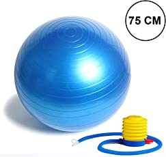 Getko With Device Anti-Burst Fitness Exercise Stability Yoga Ball ,75 cm (Random Color)