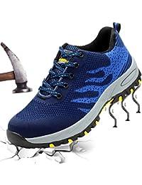 XIAO LONG Damen Herren Sicherheitsschuhe Arbeitsschuhe Atmungsaktiv Stahlkappe Wanderhalbschuhe Traillaufschuhe für Sommer