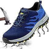 XIAO LONG Damen Herren Sicherheitsschuhe Arbeitsschuhe Atmungsaktiv Stahlkappe Schutzschuhe Traillaufschuhe für Sommer,Blau,35