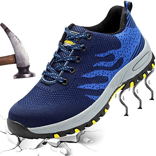 XIAO LONG Damen Herren Sicherheitsschuhe Arbeitsschuhe Atmungsaktiv Stahlkappe Schutzschuhe Traillaufschuhe für Sommer,Blau,36