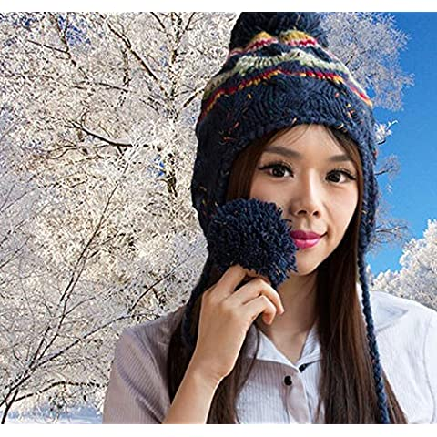 GAOYANQING Le novit¨¤ di autunno/inverno palle selvaggio e pittoresco ladies' Plaid in maglia lana Cap , blue - All'uncinetto Palle