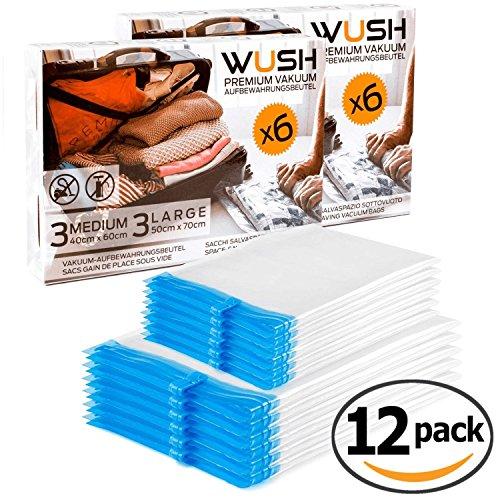 WUSH Premium Reise Vakuumbeutel [ 12er Set ] zum Rollen per Hand – 40x60cm und 50x70cm – Vakuum ohne Pumpe und Staubsauger - transparente Aufbewahrung von Kleidung für Koffer, Rucksack oder Schrank (12)