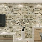 HANMERO® Murales de pared papel pintado imitación ladrillo piedras papel de pared dormitorios/salón/hotel/ fondo de TV /color color beige, crema blanco y gris,0.53M*10M
