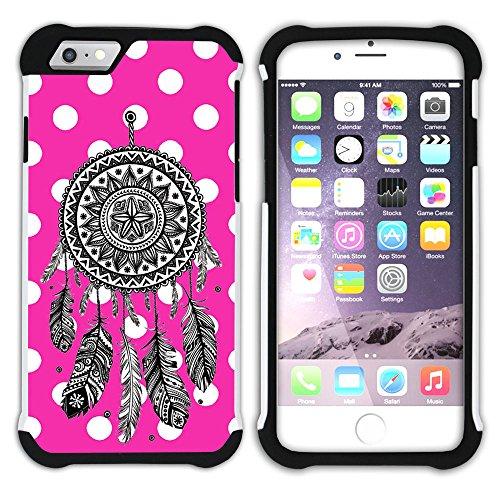 Graphic4You Traumfänger Punktmuster Tupfen Muster (Lila) Hart + Weiche Kratzfeste Hülle Case Schale Tasche Schutzhülle für Apple iPhone 6 / 6S Fuchsie