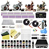 tattoo set maschine komplett 4 Tattoomaschine Dual Power Supply 50 Tattoo Nadeln 20 Farbtinten Anfänger-Tattoo-Kit EU-Stecker (TK1000046)