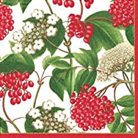 Christmas Napkins Christmas Party Christmas Dinner Party Paper Dinner Napkins White Berry Chintz Pk 40 by Caspari