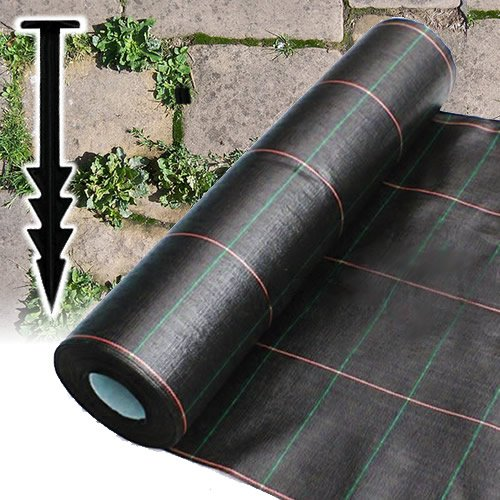 1 m x 10 m Heavy Duty Woven Unkrautbekämpfung GROUND Mulch Landschaft Stoff + 10 Klammern (Woven Ground Cover)