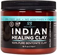 Radha Beauty Indian Healing Clay 100% Natural Bentonite Clay, Deep Pore Cleanser Facial and Body Mask