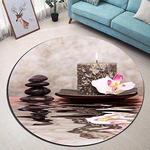 Spa Duftkerzen Blumen Massagesteine Anti-Rutsch-Maschine waschbar Runde Bereich Teppich Wohnzimmer Schlafzimmer Badezimmer Küche weichen Teppich Bodenmatte Home Decor,120x120 CM (Runde Blume Teppich)