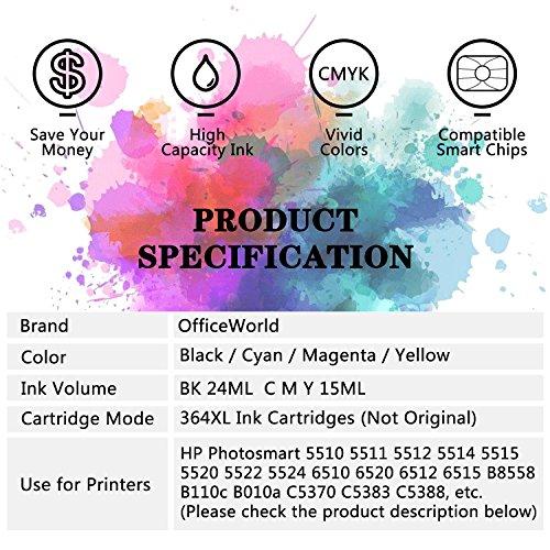 OfficeWorld Replacement for HP 364 364XL Ink Cartridges Compatible for HP Photosmart 5510 5520 5522 6520 B8550 C5388, HP Officejet 4620, HP Deskjet 3070A (1 Black, 1 Cyan, 1 Magenta, 1 Yellow)