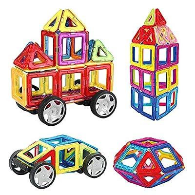 INTEY Magnetische Bausteine 32 tlg Kreative Bausteine Magnetische Konstruktionsbausteine Haus Turm Auto mit Räder Geschenk für Kleinkind ab 3 Jahre von INTEY