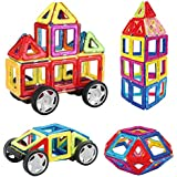INTEY Magnetic Building Blocks 32-Pcs Magnetic Blocks as Boys Toys and Girls Toys with Wheel for Creative Thinking