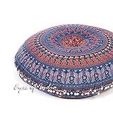 Eyes of India - 32' Bohemio India Suelo Meditación Funda de Almohadón Boho Cama para Perro Redondo Colores Decorativos Mandala Hippie Cojín Asiento Sofá Manta Funda - Azul Oscuro #2