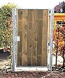 Törchen / Einbaubreite 105 cm / Einbauhöhe 150 cm / Hochwertiges 1-flügeliges Tor / Verzinkt mit Holzfüllung / Holz Tor Gartentor Hoftor Einfahrtstor