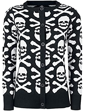 Gothicana by EMP Skull And Bones Cardigan Cardigan donna nero/bianco