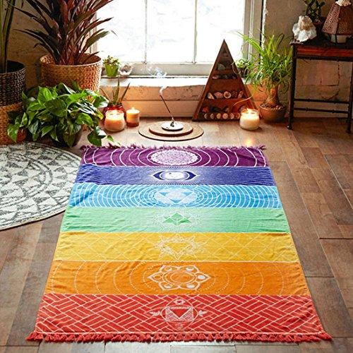 Preisvergleich Produktbild 7 Chakra Pendant - Polyester Bohemia Wall Hanging India Mandala Blanket 7 Chakra Colored Tapestry Rainbow Stripes - Bedroom Tapestry Tapestries Hanging Wall Colorful