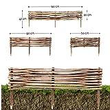 Beeteinfassung Haselnuss · Beeteingrenzung in 3 Größen ( 20 x 120 cm ) · Steckzaun zur Beet-Umrandung oder Weg-Abgrenzung