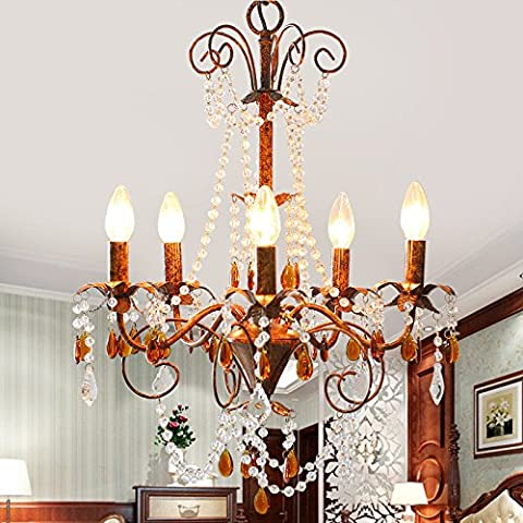 Color crystal chandeliers American village wrought iron living room lamp vintage creative personalities Hall dining room bedroom , 6 head diameter