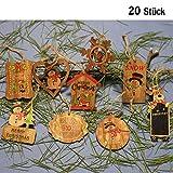 DAHI Weihnachtendeko Holz Anhänger 20 Stück Christbaumschmuck aus Holz- Christbaumanhänger in 10 Motive mit Juteschnur (Holz anhaenger bunt)