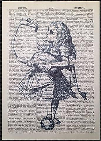 Alice au pays des merveilles Flamingo Impression Vintage Dictionnaire Page photo mur Art