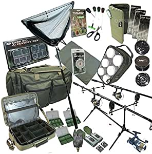 Full Carp Fishing Set Up. 2 Rods, 2 Reels, 2 Bite Alarms, Grinder, Carryall, Net, Hair Rigs, Rig Wallet And More by NGT