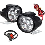 RA ACCESSORIES 6 LED Shilan Waterproof Fog Light with on/off Handlebar Switch for Motorcycle Jeep SUV Car and Truck (Black)