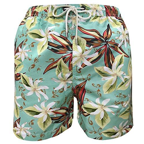 iPretty Herren Sommer Strand kurze Shorts Badeshorts Badehose Boardshorts mit Blumen Muster innen Mesh,Dunkelblau,52/54,XXXL