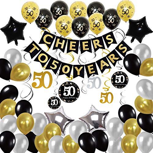 Dekorationen Schwarzgold Luftballons für Mann Prost auf 50 Jahre Banner mit Folie hängen wirbelt Anzahl Print und Konfetti Party Luftballons ()