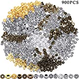 900 Piezas Cuentas Espaciadoras Cuentas de Bronce Antiguas Abalorios Espaciadoras de Aleación Tibetana para Fabricación de Joya Pulsera Collar