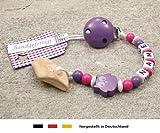Veilchenwurzel an Schnullerkette mit Namen | natürliche Zahnungshilfe Beißring für Babys | Schnullerhalter mit Wunschnamen - Mädchen Motiv Eule in lila