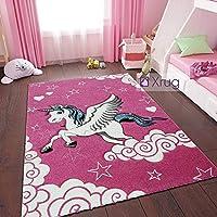 Kids Unicorn Rug for Girls Bedroom Thick Pink Nursery Mat Children Play Room Carpet