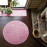 Shaggy-Teppich | Flauschiger Hochflor fürs Wohnzimmer, Schlafzimmer oder Kinderzimmer | einfarbig, schadstoffgeprüft, allergikergeeignet in Farbe: Rosa; Größe: 120 cm rund