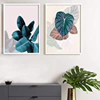 Painting Mantra Floral Theme Framed Canvas Art Print, Painting -13x17 inches, Set of 2 , White