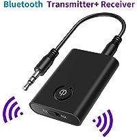 SOOTEWAY Transmetteur Bluetooth 5.0 Émetteur et Récepteur Adaptateur Bluetooth 2 en 1 Adaptateur Audio sans Fil Sortie Stéréo de 3,5mm aptX Double Appairage pour TV,PC,Système Stéréo de Voiture/Maiso